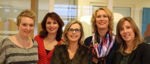 Rianne Pete Nemeth, Astrid Peters, Jacomien Bubeck, Suzanne van der Zee en Mariël Joosten (v.l.n.r.).